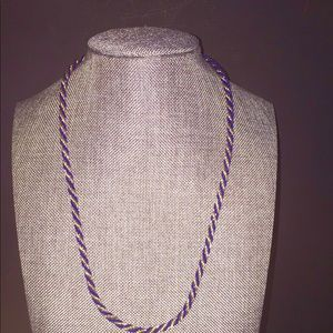 Trifari Blue/Gold Twisted Chain Necklace